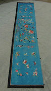 Antique Chinese Qing Dynasty Forbidden Stitch Silk Embroidery Hanging Panel 78l
