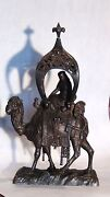 Antique 19c Austrian Spelter Woman Seating On The Camal Under A Tent