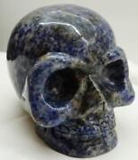 Amazing Hand Carved Dumortieritelapis Lazuly Family Crystal Skull Paperweight