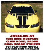 N514-ds-s1 1999-03 Ford Mustang - Claw Hood Faders And Dual Stripe Kit