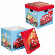 Set Of 2 Disney Cars Cardboard Storage Boxes With Lids Kids Toys Arts Crafts Box
