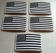 5 United States Flag Military Patch With Velcroandreg Brand Fastener B And W Version 3