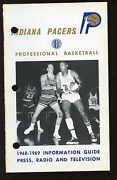1968-1969 Aba Basketball Indiana Pacers Press Radio Tv Media Guide