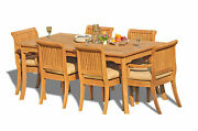 7-piece Outdoor Teak Dining Set 71 Rectangle Table 6 Arm/armless Chairs Giva
