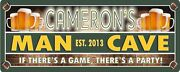 Man Cave Personalized Sports Sign With Red Brick, Established Date And Beers
