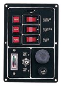 Marine Boat Aluminum Switch Panel 3 Gang W/ Battery Tester And Horn Push Button