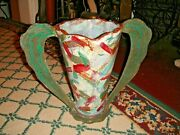 Unusual Mary Shreve Crow Pottery Trophy Vase-Abstract Vase-Signed-Large Handles