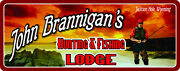 River Sunset Hunting And Fishing Lodge Personalized Sign With Fisherman