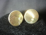 Swank Collectible Gold Tone Antique Style Stone Circular Line Cuff Links
