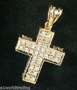 Gold 14k Yellow Gold Cross Charm 4.9 Grams With 84 Round Diamonds 1.88 Ct Total