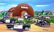 Personalized Police Art Print Coffee Roadside Diner Cop Officer Donut Gift State
