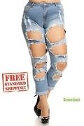 Cl Womens Plus Size Blue Denim Stretch Crop Ripped Jeans Skinny Distressed Pants