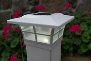 5x5 Solar Post Cap Led Deck Fence Lights White Finish 8 Pack Wood And Pvc Post