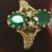 12k Gold Antique Victorian Genuine Emeralds And Pearl Ring 1800s