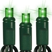 Green Led Mini Christmas Lights Wide Angle 5mm Lights Green Wire Set Of 70 24 Ft