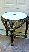 Antique French Victorian Cast Iron Coffee Coctails Table W/3 Women Statues Legs