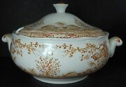 Furnivals England Quail Brown Pattern Soup Tureen With Lid Crack In Bowl