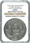 Rare Swiss 1902 Silver Shooting Medal Zurich Winterthur Ngc Ms64 R-1786a