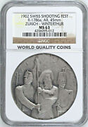 Swiss 1902 Silver Shooting Medal Zurich Winterthur Ngc Ms63 R-1786a