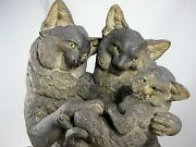 19th Century Stoneware Figural Cat Family Group With Glass Eyes C1870and039s C