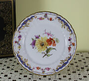 Collectors And Historic Cabinet Plate Hand-painted Multi-colored Flowers