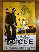 Henry Cavill Alicia Vikander Signed Man From Uncle 12x18 Poster Photo Autograph
