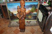 Antique Lifesize Wood Carving African Religious Man W/child-jesus Christianity