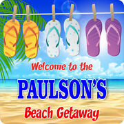 Personalized Beach Getaway Welcome Sign Custom Name Flip Flops Plaque