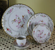 Exquisite Hand-painted 5-piece Place-setting Rich Gold And Sandegravevres Birds Decoration