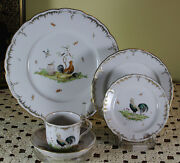 Limited Edition 1/30 Hand-painted 5-piece Place-setting Poultry Landscape