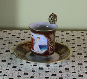 Collectors Large Coffee Cup And Saucer On Paw Feet With Painting Rosace Handle
