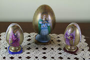 Set Of Three Wonderful Collectors Easter Eggs With Angels Paintings