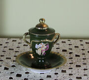 Collectors Serpent Handles Cup With Lid And Saucer With Painting