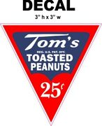 Tom's 25 Cents Toasted Peanuts Decal, Great For Dioramas, Gumball Machine And More