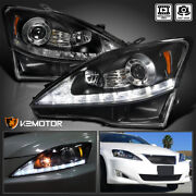 For 2006-2009 Lexus Is250 Is350 Black Led Signal Strip Projector Headlights Pair