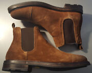 Mosley Ii Brown Snuff Distressed Suede Boot Size 7.5 Made In Italy