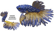 Beta Fish Jeweled Trinket Box With Crystals, By Rucinni, Blue