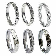 4mm 18ct White Gold Vintage Hand Engraved Wedding Rings Court Comfort Bands Hm