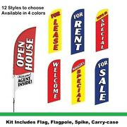 Open House Flag Kit For Realtors And Real Estate. Complete Kit With Carry-case