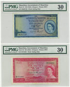 Government Of Mauritius 5 And 10 Pounds Pick 27 And 28 Pmg 30