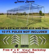 Batting Cage Net 10and039 X 12and039 X 50and039 24 42ply With Door And Frame Baseball Netting