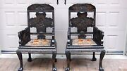 Pair Antique Chinese Wood Hand Carved Throns ,armchairs W/upholstered Seats