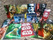 New Star Wars Merchandise Lot- 2 Lunchboxes 8 Folders 4 Notebooks And Stickers