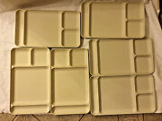 6 Vintage Tupperware Almond Tan Cream Divided Food Trays Cafeteria Camping Bx35