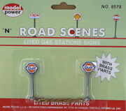 N Scale Model Power Lighted Gulf Gas Station Signs 8578