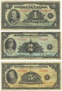 Bank Of Canada Bc-2, Bc-4 And Bc-6 Dated 1, 2 And 5 Dated 1935 French Text