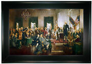 Christy Signing Of Constitution Of The United States-black Framed Canvas 25x36