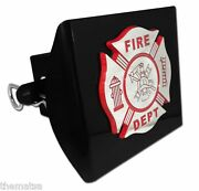 Fire Maltese Cross Chrome Red Black Decal Usa Made Plastic Trailer Hitch Cover