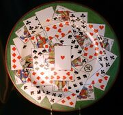 Creil Et Montereau Pottery Transferware Charger Playing Cards