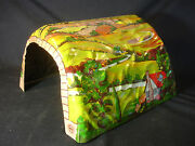 Old Vtg Colorful Collectible Marx Tin Litho Train Mountain Tunnel Toy